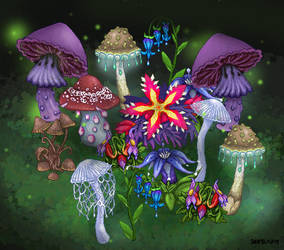Fantasy plants and mushrooms by Sharkledog