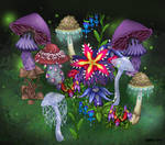 Fantasy plants and mushrooms by Sharkledog