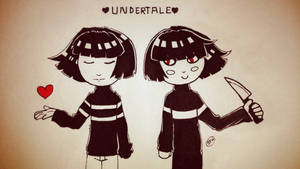 Undertale | Frisk and Chara | Inktober Day 8 by SpanishPandaHero
