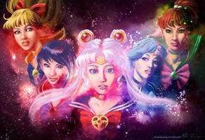 Sailor Moon and Inner Senshi by badwhitney