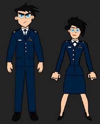 Older Danny and Danielle Fenton, USAF Blues. by LooneyAces