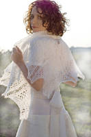 White Hand knitted shawl wedding bridal lovely by dosiak