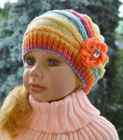 Knitted Children's cap raibow color lovely warm by dosiak
