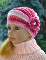 Knitted Children's hat/cap red pink cream fuchsia by dosiak