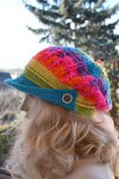 Crocheted PEAKED Cap beanie Slouchy Winter Fashion by dosiak