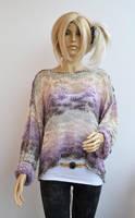 Purple cream gray sweater, loose knit, Grunge over by dosiak