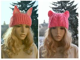 PUSSYHATS pink cat headband, Wom pink cat headband by dosiak