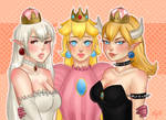 boosette, peach, and bowsette! by Bxsnia