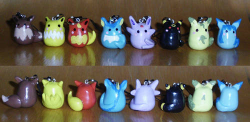 Poke-Peeps Cellphone Charm - Eevee Evolution Set 1 by UniqueTreats