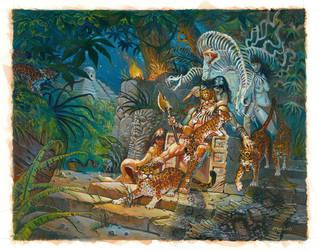 Jaguar God Painting by Moulunerie