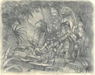 Jaguar God preliminary drawing by Moulunerie