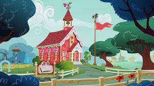 Ponyville Schoolhouse Background by tamalesyatole