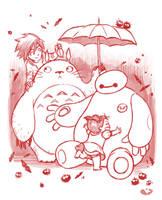 Baymax and Totoro by kehchoonwee