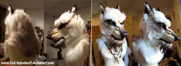 White werewolf head (SOLD) by Faol-bigbadwolf