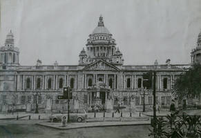 City Hall, Belfast Pencil Drawing (2010) by UniiqueTouch