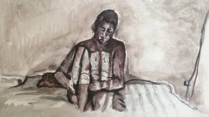 'Figure on a Bed', Original piece, 2014 by UniiqueTouch