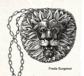 Gold lion pendant by FredaSurgenor