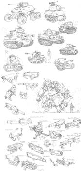 Sketches - Tanks and Weapons by PenUser