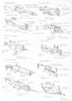 Sketches- Pile bunker rifles by PenUser