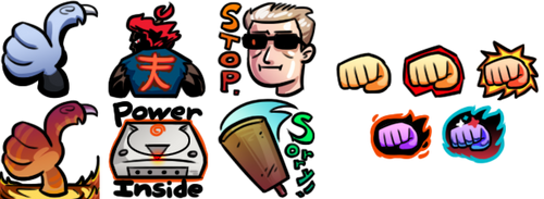 Twitch emotes+ sub badge commission for Kenpunch12 by Russell-LeCroy