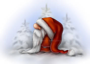 Little Santa out in the snow by Ploopie