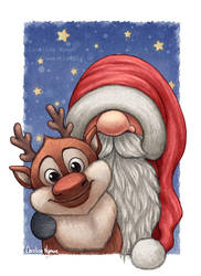 Little Santa and his little reindeer by Ploopie