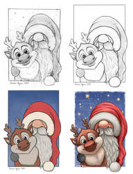 Little Santa and his little reindeer process by Ploopie
