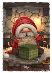 Little Santa wrapping a gift by Ploopie