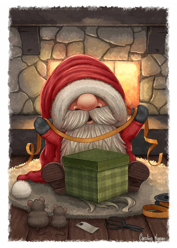 Santa wrapping a gift by Caroline Nyman