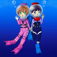 Sakura and Tomoyo with scuba suit by Nekomi4