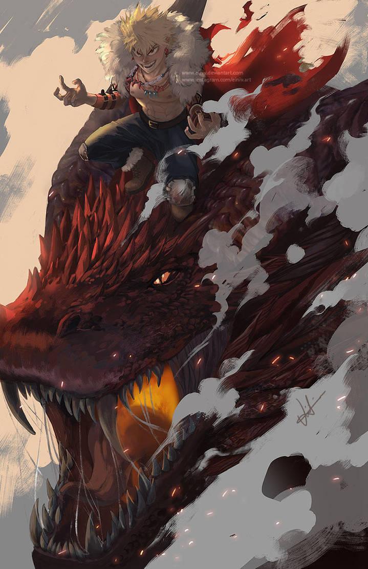 Bakugou riding a Dragon by einiv
