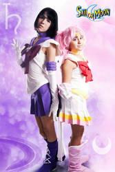 Sailor Saturn nd Super Sailor Chibi Moon by JulisScarlet