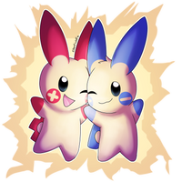 Minun and Plusle by Silentwoofz