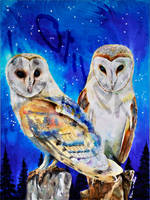 Commission: Anniversary Owls by Digital-Goth