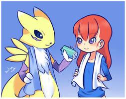 Ruki and Renamon by drantyno