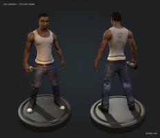 GTA - Carl Johnson 3D Fanart by OniLolz