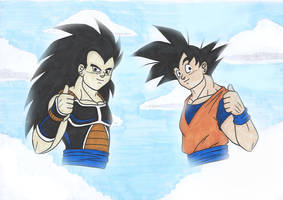 DB - Goku and Raditz (R and R) by IsabellaFaleno