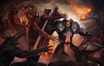 Crusader battle by Deiyeah