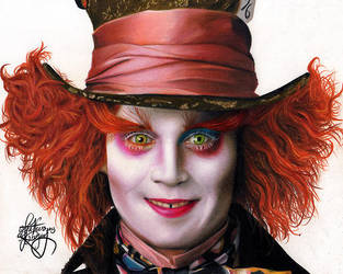 drawing Johnny Depp as The mad Hatter by Heatherrooney