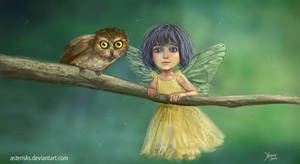 Fairy and Owl by Asterisks