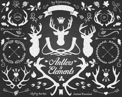 Chalkboard Antlers Clipart by DigiWorkshopPixels