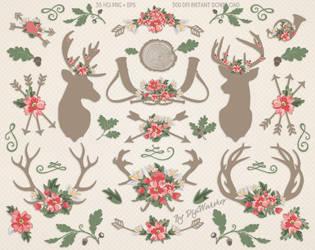 Rustic Wedding Clipart Antlers Flowers by DigiWorkshopPixels