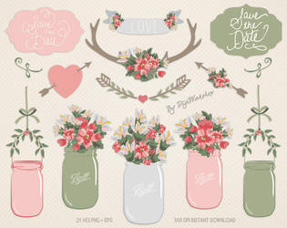 Mason Jar Clip Art Clipart Floral Mason Jar by DigiWorkshopPixels