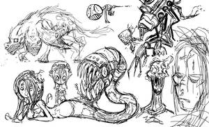 Monster sketches by LutesWarmachine
