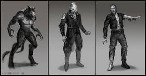 Werewolf, vampire, zombie sketches by blewzen