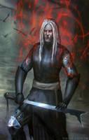 Meditating warrior by blewzen