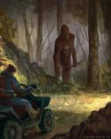 Bigfoot vs Man on ATV by blewzen