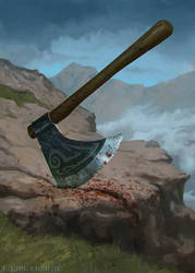 Axe - loot card illustration by blewzen