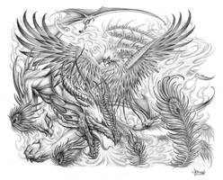 Dragon Phoenix Tattoo by Loren86