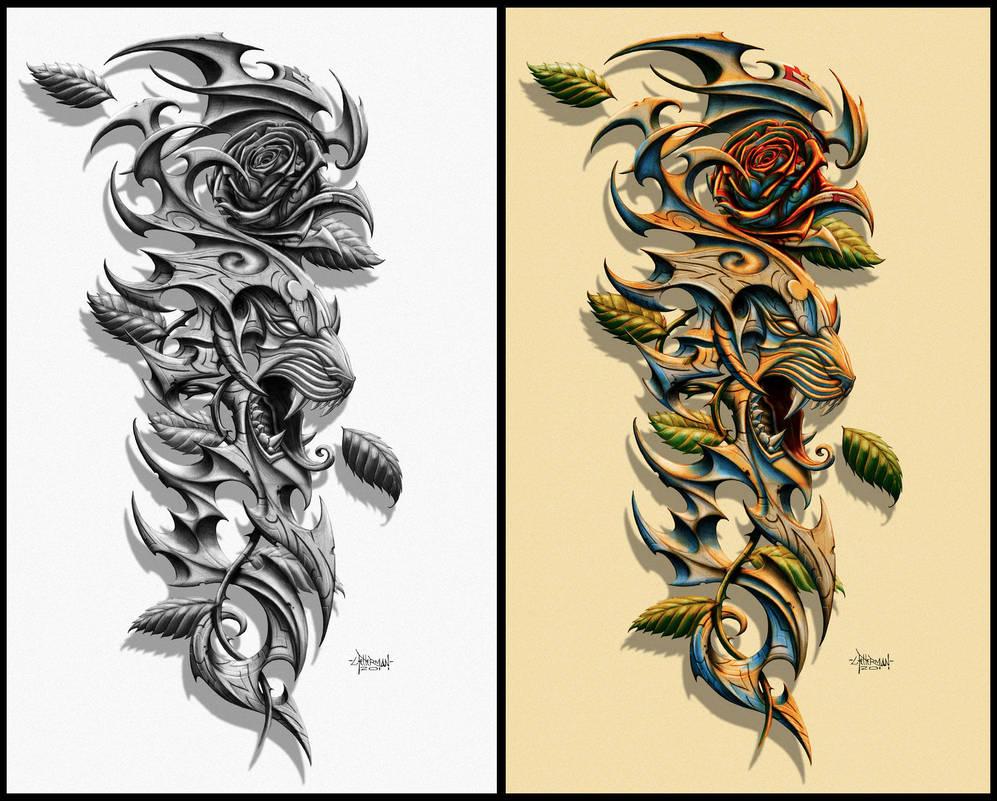 Tiger Rose Tattoo By Loren86 On Deviantart